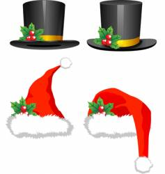 Christmas hats vector image vector image