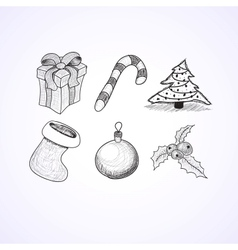 Christmas icons doodles sketchbook vector image vector image