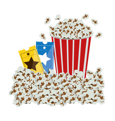 Color background with popcorn container and movie vector