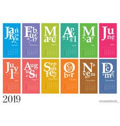 Creative calendar 2019 mondays selected vector