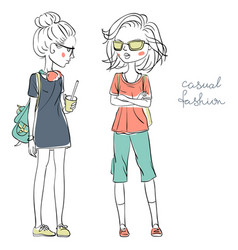 cute fashionable girls vector image