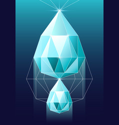 diamond in polygonal vector image vector image