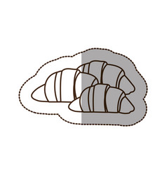 Figure croissant bread icon vector