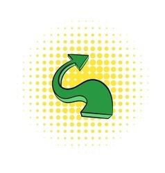 Green wavy arrow icon comics style vector image