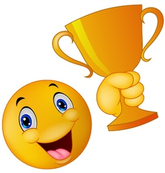 Happy smiley emoticon holding trophy vector image vector image