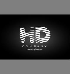 Hd h d letter alphabet logo black white icon vector