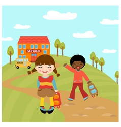 Kids go to school vector image vector image