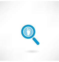 magnifying glass with a human footprint vector image vector image