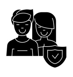 man and woman - front - shield icon vector image vector image