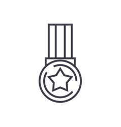 medal star line icon sign vector image vector image