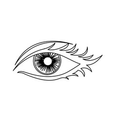 Outline woman eye opened icon vector