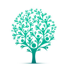 people tree sign color green vector image