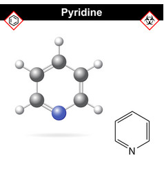 Pyridine organic solvent molecular structure vector