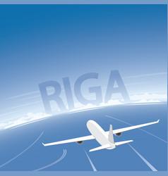 Riga skyline flight destination vector
