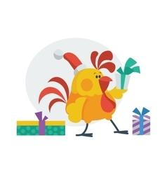 Rooster bird opens presents cock in santa s hat vector