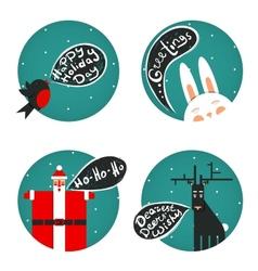 Santa bullfinch deer bunny christmas greetings set vector