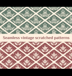 Seamless scratched vintage patterns vector image vector image