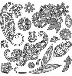 Set of hand draw ornate black flower design vector image vector image