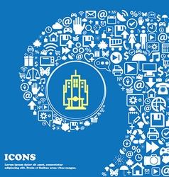 skyscraper sign symbol Nice set of beautiful icons vector image vector image
