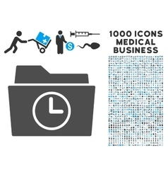 Temporary Folder Icon with 1000 Medical Business vector image