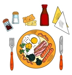 Traditional breakfast with eggs bacon sausages vector