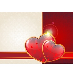 Valentine hearts and ribbon vector image vector image