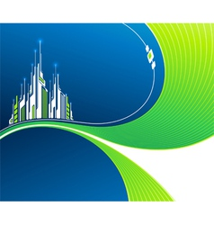 Wavy background with futuristic architecture vector