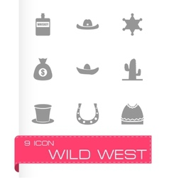 wild west icon set vector image