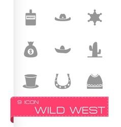 Wild west icon set vector