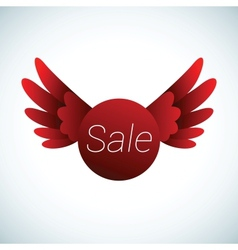 Sale sign with red wings vector