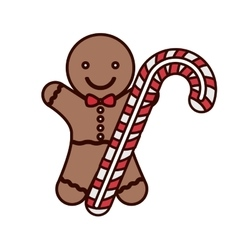 Cookie christmas with candy cane vector