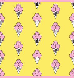 Colorful seamless pattern of ice cream in pop art vector