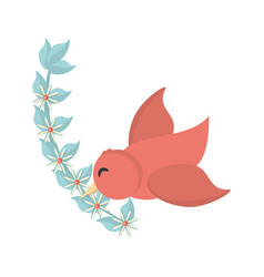 bird flying with flowers decoration vector image