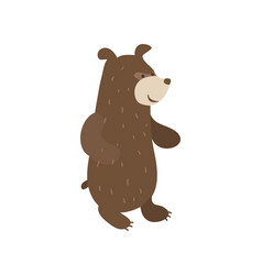 Funny brown bear personage vector
