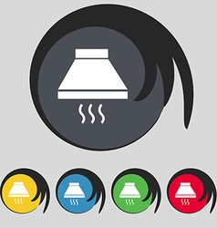 Kitchen hood icon sign symbol on five colored vector