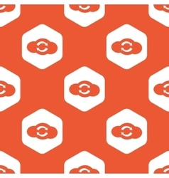 Orange hexagon cloud exchange pattern vector