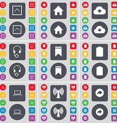Arrow up house cloud headphones marker battery vector