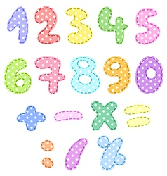 Polka dot numbers with stitches vector