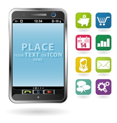 Mobile smartphone with a blank place for icon and vector