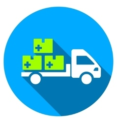 Medication delivery flat round icon with long vector