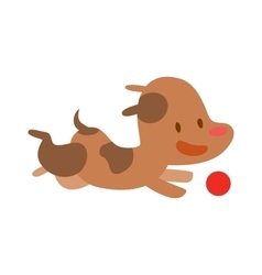 Cute doggy play and running with red ball vector