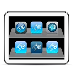 Film blue app icons vector