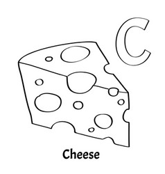 alphabet letter c coloring page cheese vector image vector image