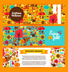 autumn horizontal banners vector image vector image