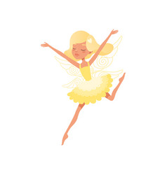 beautiful blond fairy in action with hands up vector image vector image