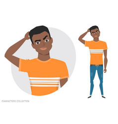 black african american man is pensive vector image vector image