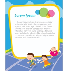 Childrens runing front of blank frame vector