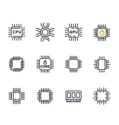 Chipset cpu icons microchip 8 core processor vector