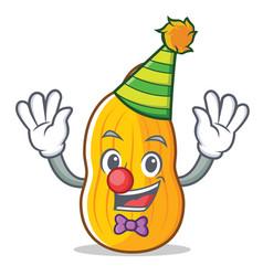Clown butternut squash mascot cartoon vector