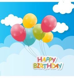 Color glossy balloons against blu sky background vector